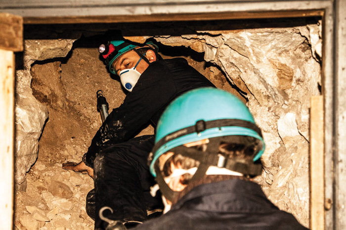 The team, including co-director Ian Haynes who is pictured here, are required to delve through subterranean spaces and passages dug for varying reasons that differ considerably in size.
