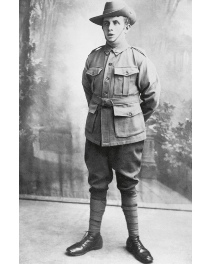 Private Stanley Charles Perrett of the 7th Battalion fought at Fromelles. He is wearing the standard uniform of the Australian Imperial Force.