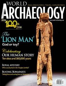 Cover of CWA 100 featuring ivory figure of what has been described as a lion-man
