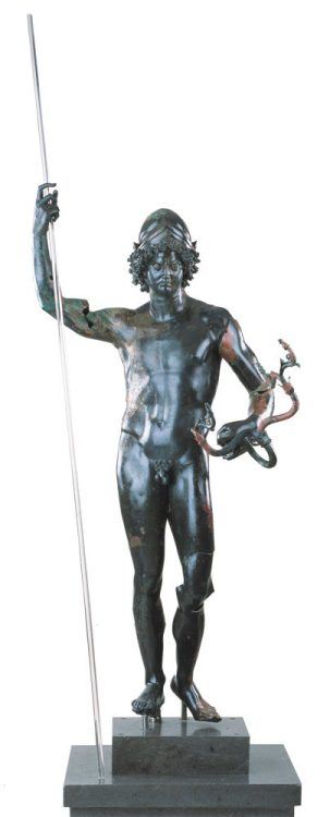 Bronze statue of the god Mars wearing a helmet and holding a bow in his left hand and a pole - for a spear - in his right