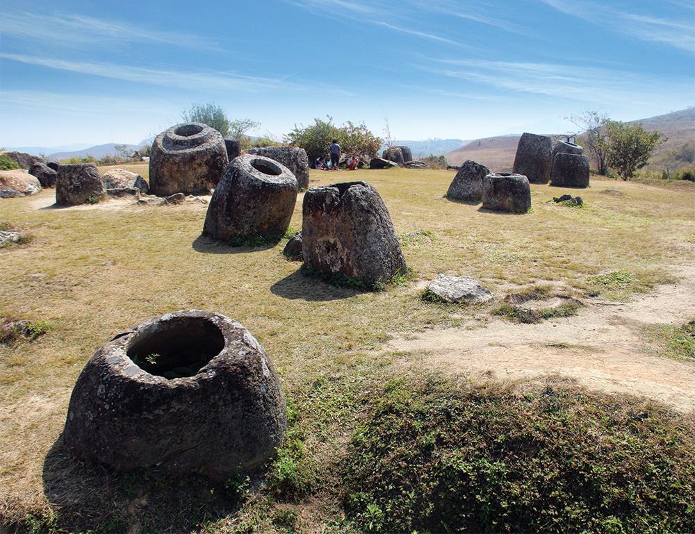 Some of the largest of the stone jars on a low hill