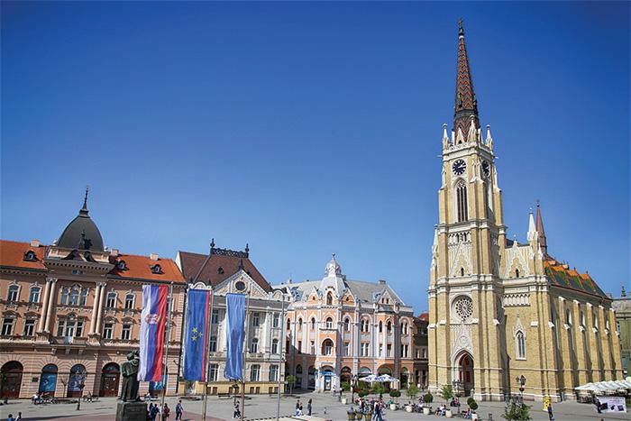Square in Novi Sad, with church