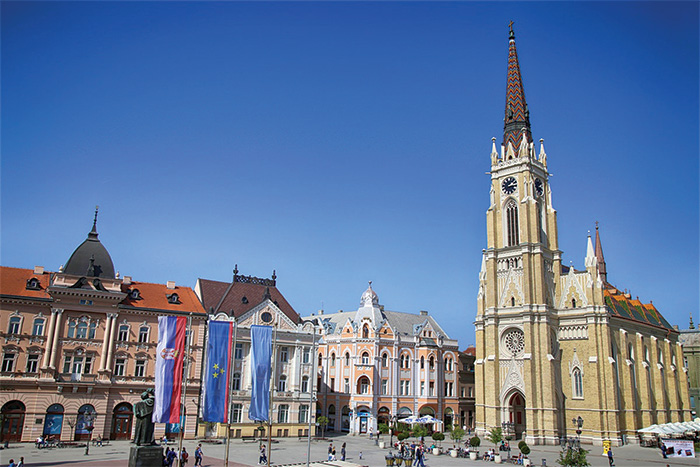 Square in Novi Sad, with church