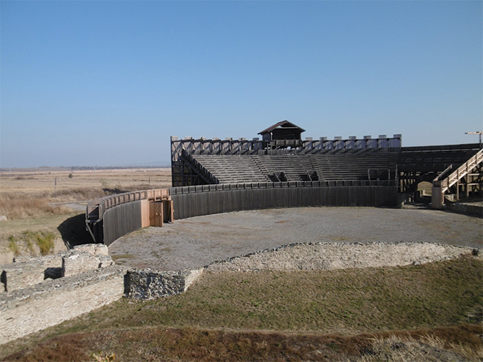 The amphitheatre at Viminacium, partially reconstructed in wood