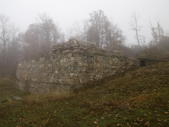 The mausoleum surrounded by mist