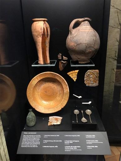 A display case containing ceramics