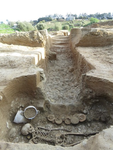 The excavation trench with a burial in the forefront