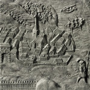 A section of the engraving of medieval Oslo on King Frederik II's sarcophagus