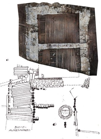 A photograph of a medieval stone building found during recent excavations next to the plan of a building partially excavated in 1950s, showing how they fit together.