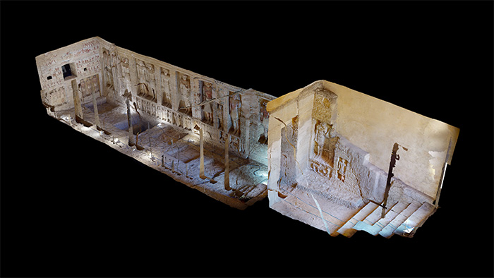 An example of the 'dollhouse view' from the 3D model, showing the whole tomb as a 3D structure floating on a black background.