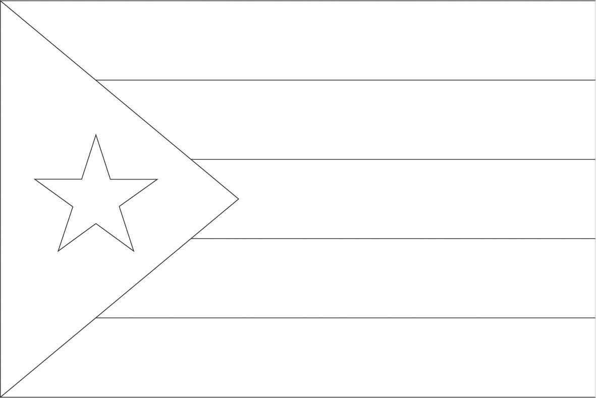 It is an image of Printable Puerto Rican Flag within blank