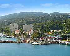 Waterfront photograph, showing the coastline and harbourfront of Ocho Rios