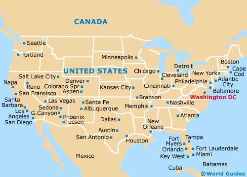 Us Map States Washington Dc