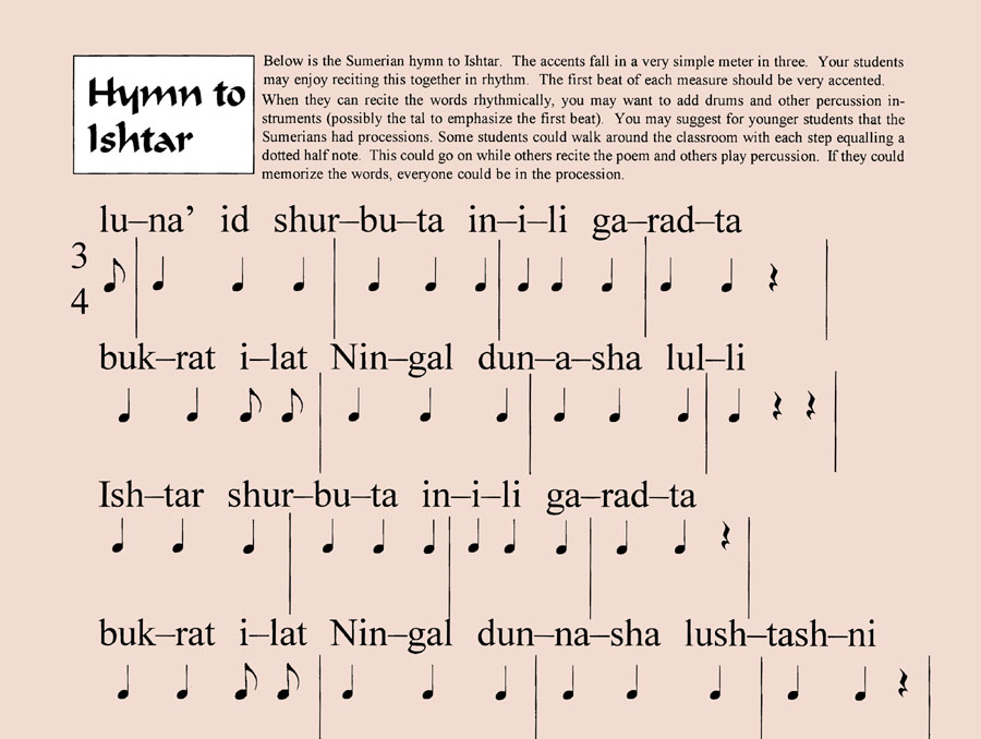 sumerian song to ishtar