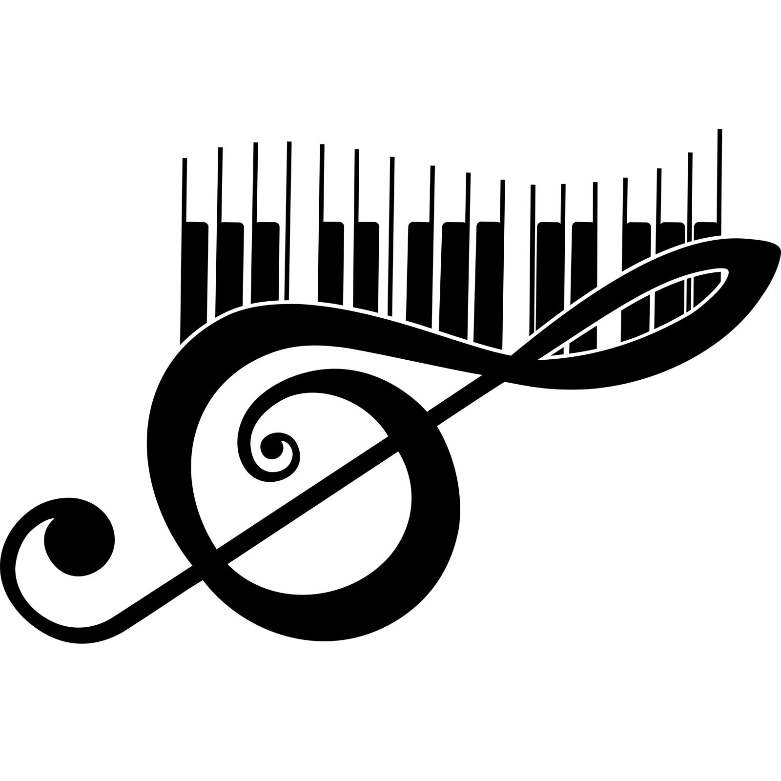Treble Clef And Piano Keys Musical Wall Sticker Decal