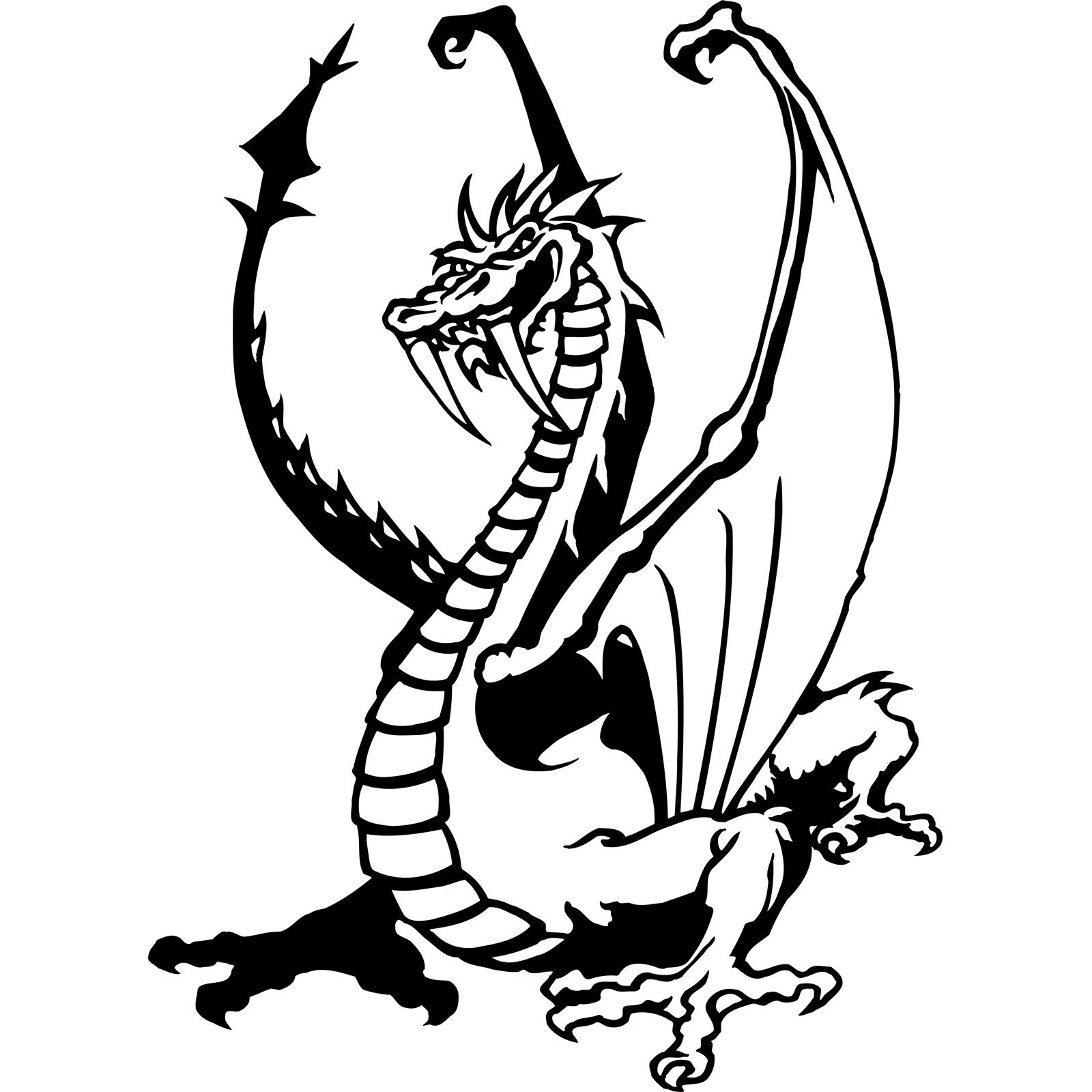 Standing Dragon With Large Teeth Wall Sticker Decal