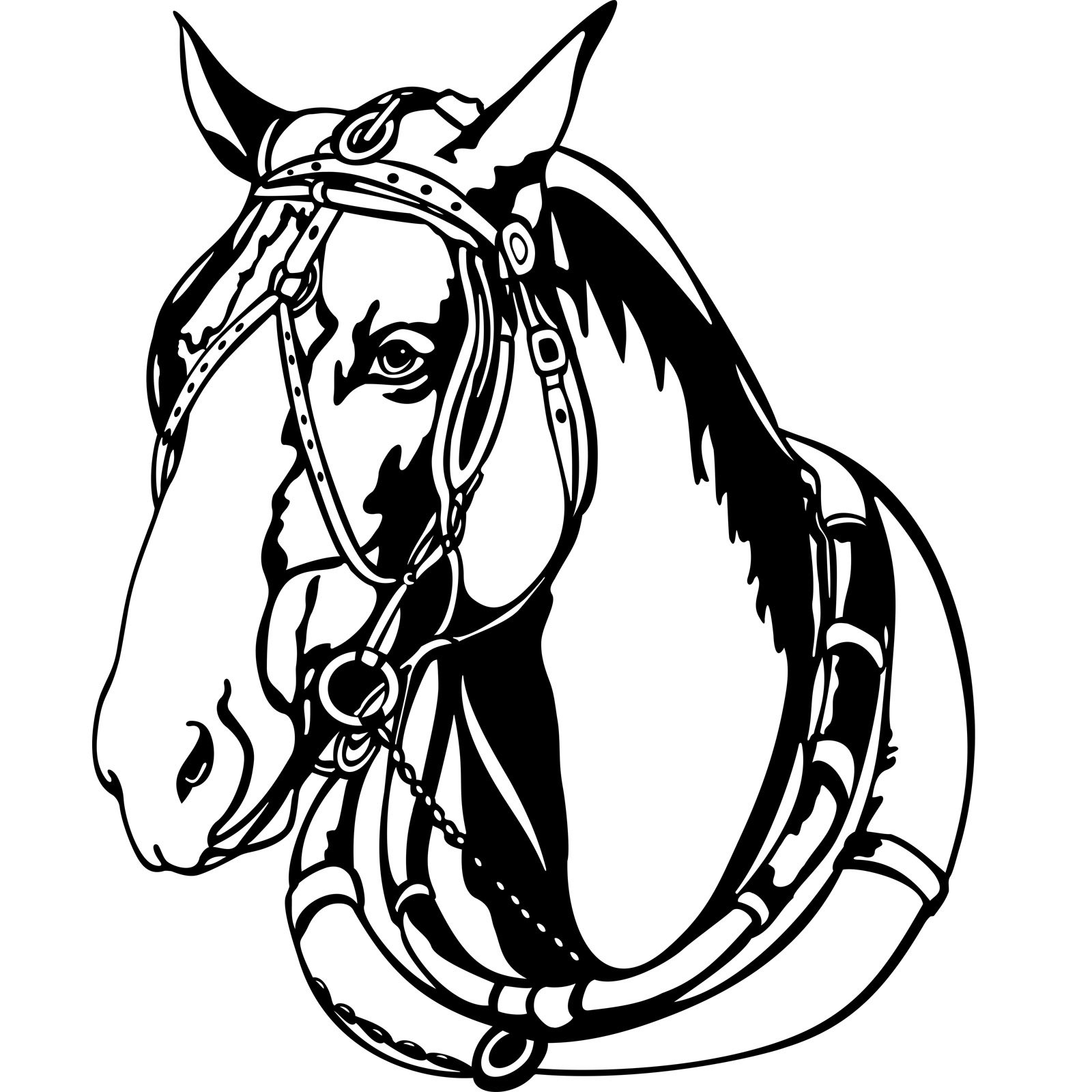 Shire Horse Head With Harness Wall Sticker Decal