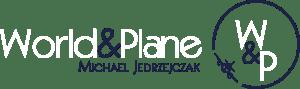World and plane | Michael_JEDRZEJCZAK | White logo
