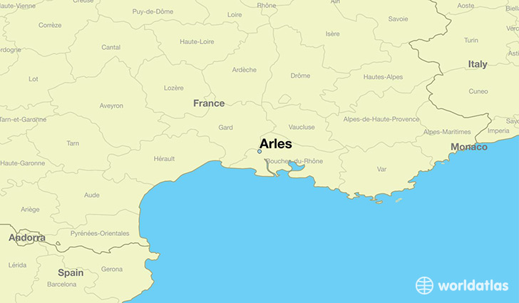 map showing the location of Arles