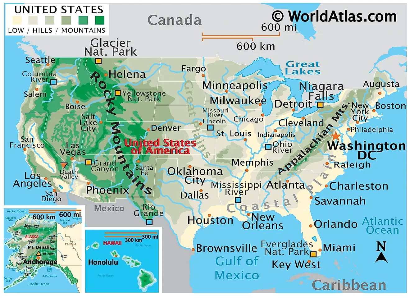 List of maps of u s states nations online project from www.nationsonline.org these official state abbreviations have all been standardized by the united states postal service (usps). United States Map World Atlas