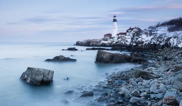 Portland Head Lighthouse along the rocky coastline of Maine.