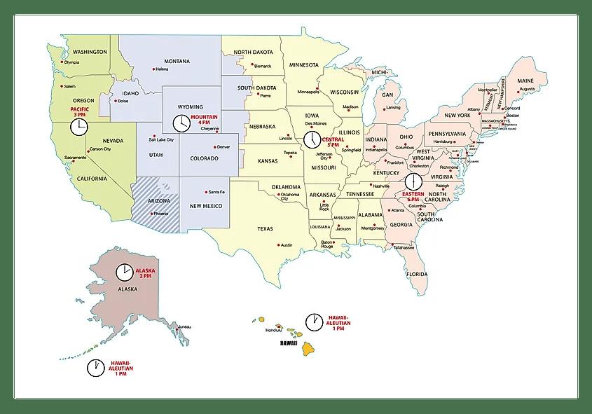 Kentucky (eastern part, south) *. Usa Time Zones Worldatlas