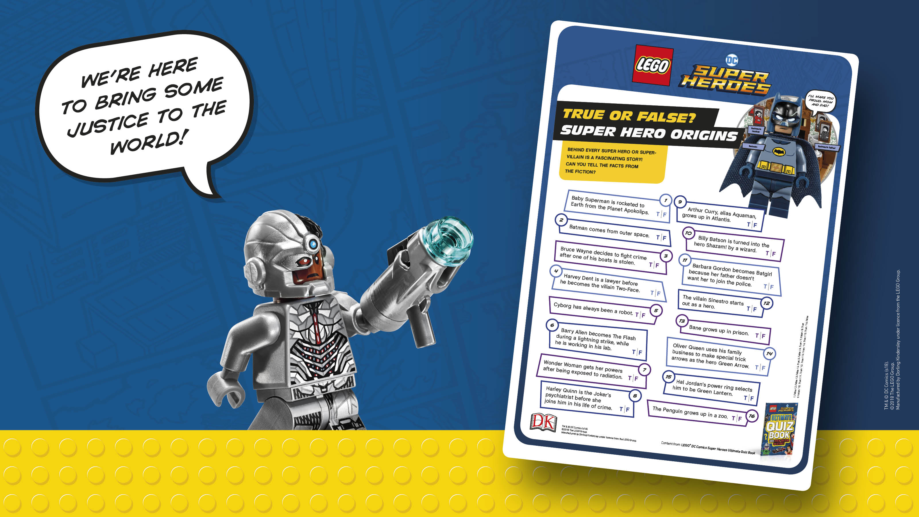 Lego Dc Super Hero Origins True Or False Activity Sheet