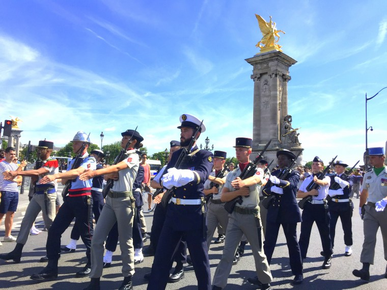 Military parade of Independce day of France on Alexandre III Bridge
