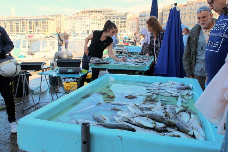 Fish market in old port (center of Marseille)