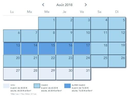 kalendarz cen w Disneylandzie