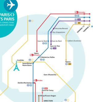 Map of transport to get to CDG Airport from Paris