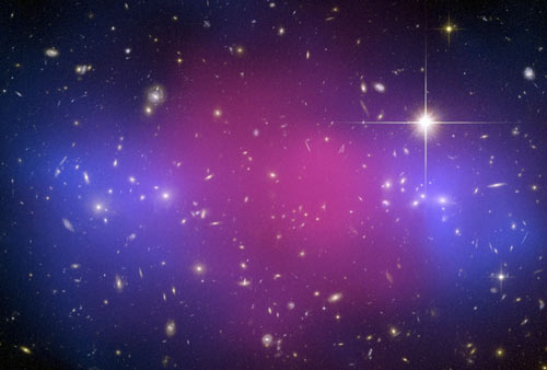 Galactic clash unmasks dark matter ordinary mater and