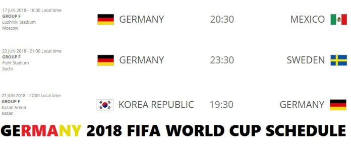 Germany 2018 FIFA World Cup Schedule