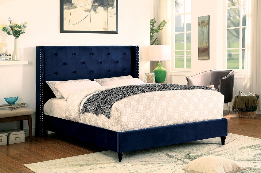 Anabelle Queen Size Bed Frame Navy Blue