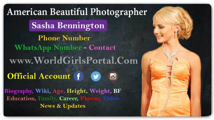 Sasha Bennington Biography, Wiki, Contact, Age, Birth, USA Photographer