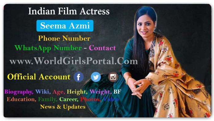 Seema Azmi Contact Details, Office Address, Home, Social Media, Email Bio-Data - World Girls Portal