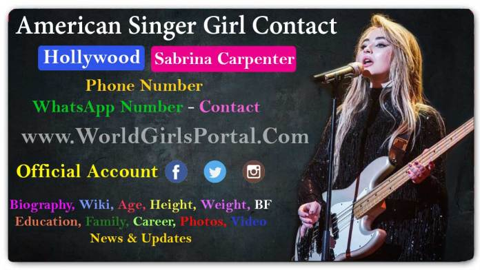 Sabrina Carpenter Contact Details American Pennsylvania Girl Mobile Number for Paid Promotion - World Biography Portal