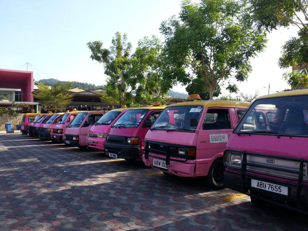 Image: Pangkor's famous pink taxis. — http://www.pangkorislandhomestay.com