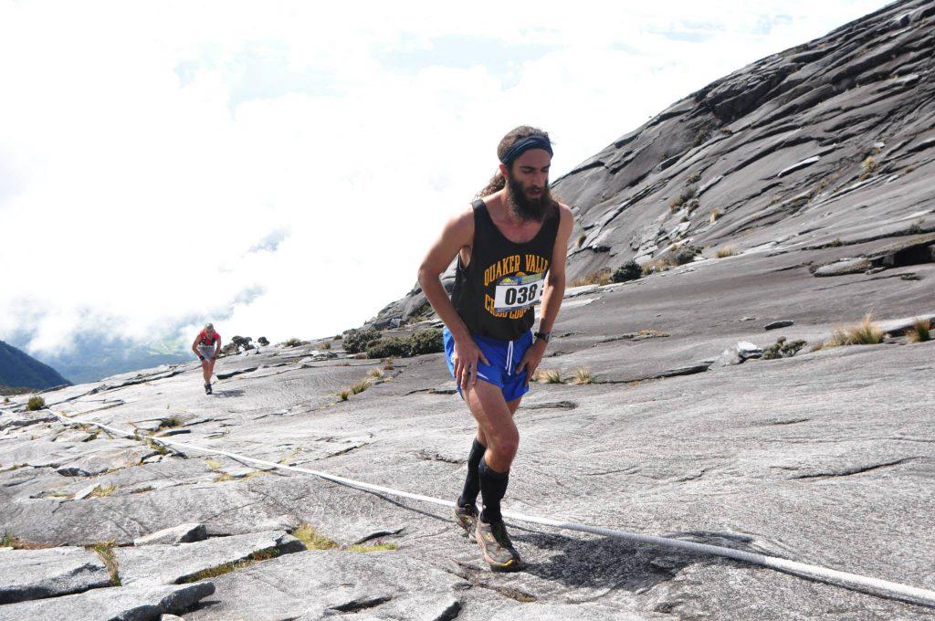 Image: Contestant ascending the steep slopes of Mt Kinabalu