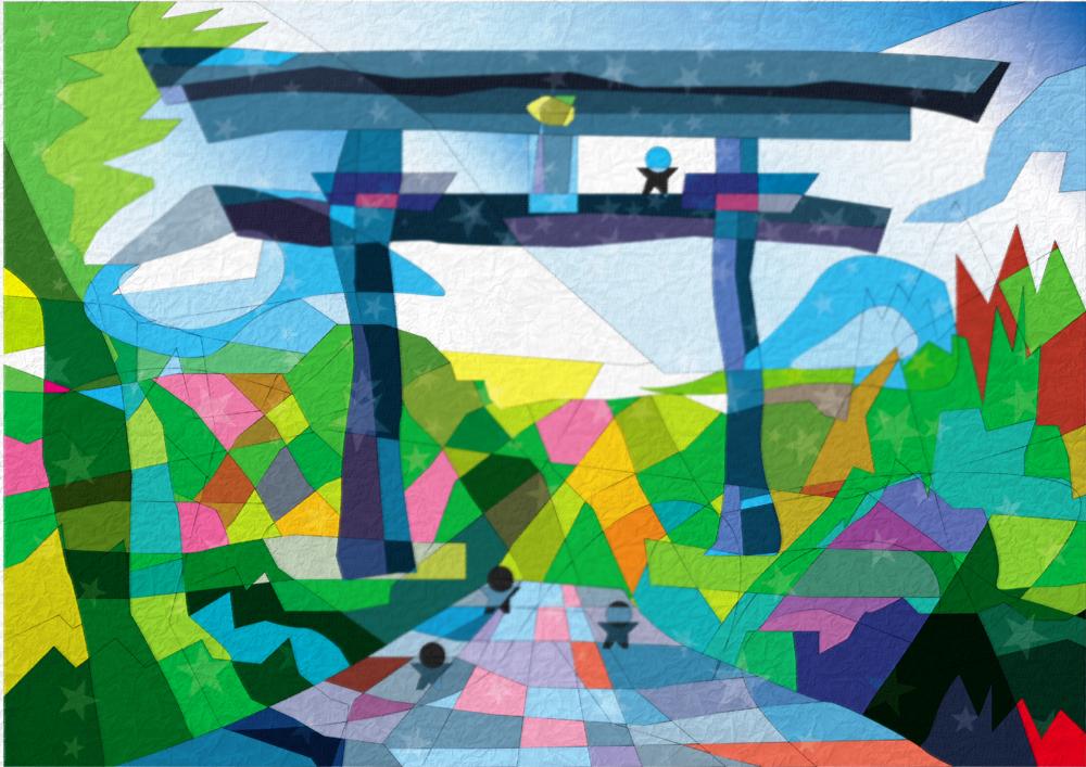 熊野本宮の大斎原 | 紀伊山地の霊場と参詣道 | 世界遺産の絵より | 松田光一 世界遺産アート