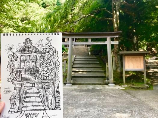 金峯神社 ドローイング 2018 | 紀伊山地の霊場と参詣道 | 松田光一 | 日本の世界遺産旅より