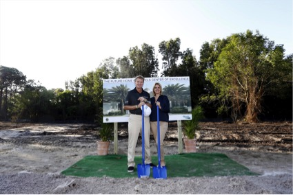 Copyright Chris Trotman. Editorial use only. The Els Center of Excellence Groundbreaking Ceremony, Jupiter, Florida. March, 10, 2014 From left to right: Ernie Els, Founder, the Els for Autism Foundation Liezl Els, Founder, the Els for Autism Foundation
