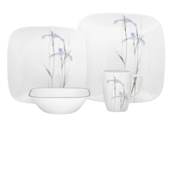 Corelle Shadow Iris Square 16pc Dinner Set World Kitchen UK