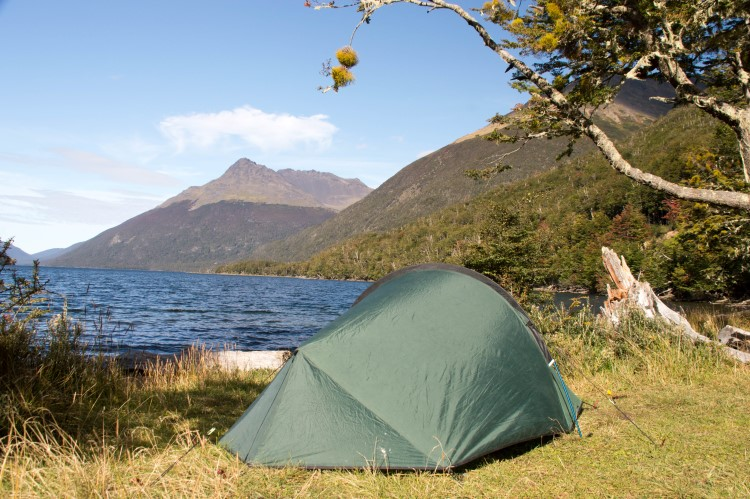 Wild camping beside a deserted lake in Chilean Patagonia.