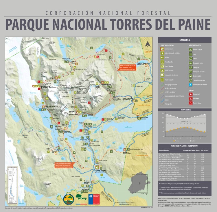 Torres del Paine w trek map and map of the Torres del Paine National Park and tral routes