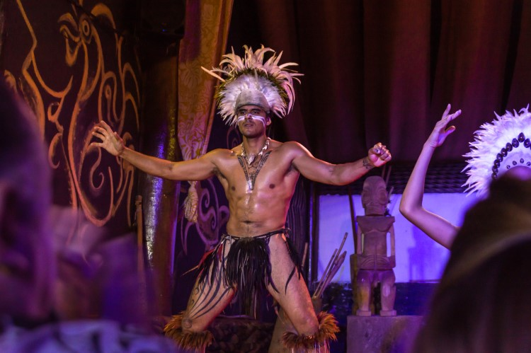 A local Rapanui performs traditional Polynesian dance at the Ballet Cultural Kari Kari on a visit to Easter Island, Chile