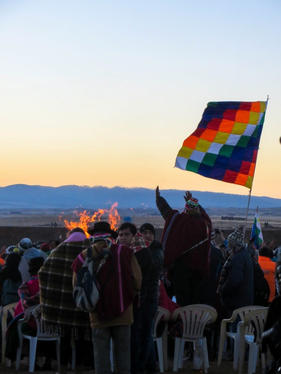 The Aymara New Year celebrations held in the Tiwanaku archeological ruins.