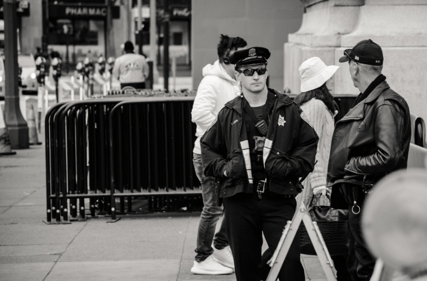 security guards standing outdoors