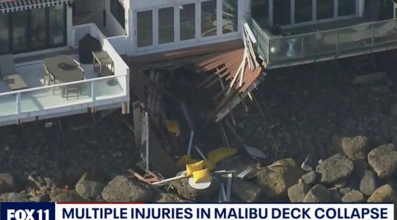 Momento aterrador se derrumba en un balcón en Malibú