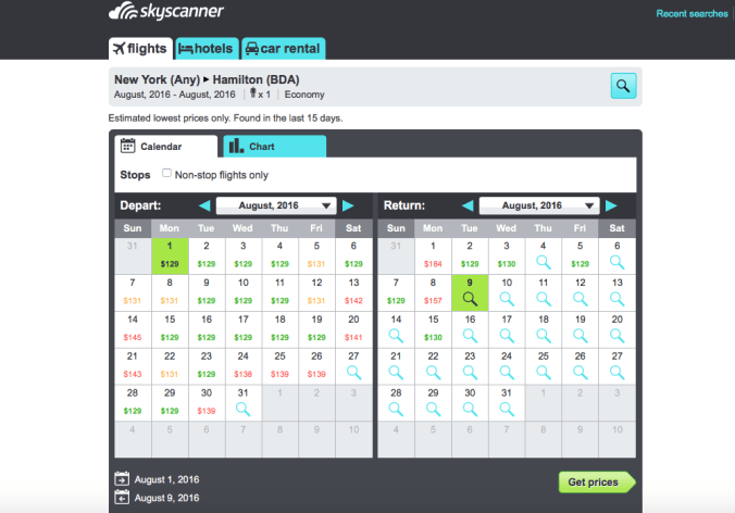 Calendar view results from Skyscanner search New York to Everywhere in August